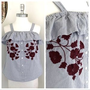 5/$25 Francesca's Button Up Embroidery Ruffle Tank